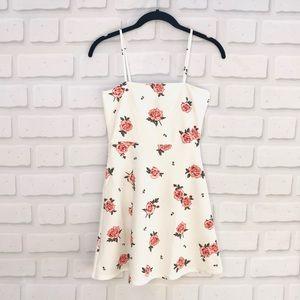 NWT H&M Pink/White Rose Skater Dress